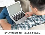 businessman using laptop on... | Shutterstock . vector #316654682