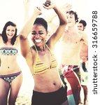 friends summer beach party...   Shutterstock . vector #316659788