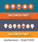 halloween ghosts flat icon card ... | Shutterstock .eps vector #316671545