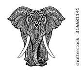 decorative elephant front view... | Shutterstock .eps vector #316681145