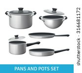 pans and pots realistic set... | Shutterstock .eps vector #316681172