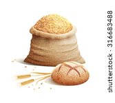 bread wheat spikes and bag of... | Shutterstock .eps vector #316683488