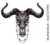bull skull with traditional... | Shutterstock . vector #316717496