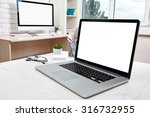 workplace with computer in... | Shutterstock . vector #316732955