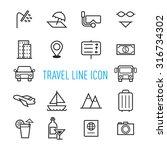 set of travel line icon...