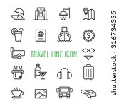 set of travel line icon...