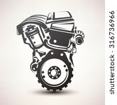 engine car symbol  stylized... | Shutterstock .eps vector #316736966