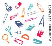 stationary stylized icons set ... | Shutterstock .eps vector #316736975