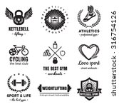sport   fitness logos vintage... | Shutterstock .eps vector #316754126