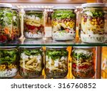 salads in jars listed in glass... | Shutterstock . vector #316760852
