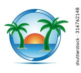 holiday icon with sun sea and... | Shutterstock .eps vector #316762148