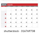 march 2016 planning calendar | Shutterstock .eps vector #316769738