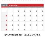 november 2016 planning calendar   Shutterstock .eps vector #316769756