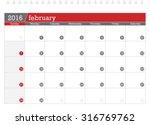 february 2016 planning calendar | Shutterstock .eps vector #316769762