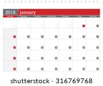 january 2016 planning calendar | Shutterstock .eps vector #316769768
