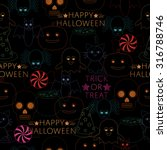 seamless halloween pattern with ... | Shutterstock .eps vector #316788746
