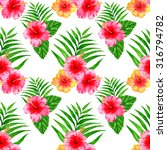 seamless pattern with hibiscus... | Shutterstock . vector #316794782