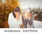 couple sneezing in tissue... | Shutterstock . vector #316795352