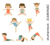 cute yoga kids characters... | Shutterstock .eps vector #316804682