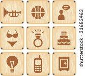 vector set of wooden icons | Shutterstock .eps vector #31683463