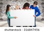 holding a sign. | Shutterstock . vector #316847456