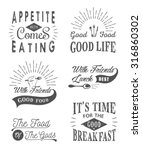 set of vintage food typographic ... | Shutterstock .eps vector #316860302