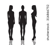 silhouettes of beautiful  and... | Shutterstock . vector #316866752