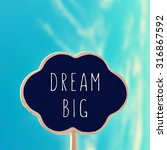 Small photo of a chalkboard in the shape of a thought bubble with the text dream big, against the blue sky