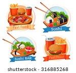 fast food  sushi  hamburger ... | Shutterstock .eps vector #316885268