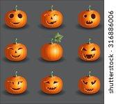 halloween pumpkin objects jack... | Shutterstock .eps vector #316886006