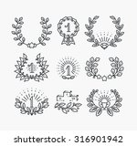 set of line victory symbols and ... | Shutterstock .eps vector #316901942