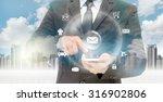 double exposure of businessman... | Shutterstock . vector #316902806