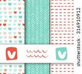 set of seamless vector patterns.... | Shutterstock .eps vector #316910912