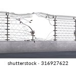 electric fence ripped apart... | Shutterstock . vector #316927622