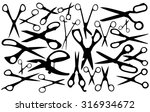 Vector Silhouettes Of Scissors.