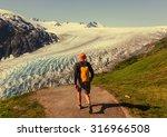 hiker in exit glacier  kenai... | Shutterstock . vector #316966508