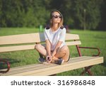 the beautiful young city woman  | Shutterstock . vector #316986848