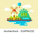 vector flat landscape with mill ... | Shutterstock .eps vector #316996232
