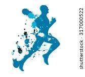 colorful runner. blue ink splash