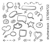 doodle arrows vector set | Shutterstock .eps vector #317004722