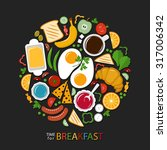 breakfast food collection on a ... | Shutterstock .eps vector #317006342