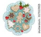 Set Of Vector Christmas Cookies