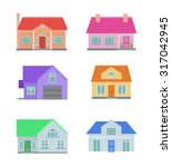 a set of country houses in the... | Shutterstock .eps vector #317042945