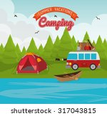 camping vacation and travel... | Shutterstock .eps vector #317043815