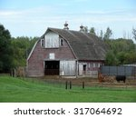 Old Red Barn With Cattle And...