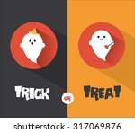 halloween ghost flat design card | Shutterstock .eps vector #317069876
