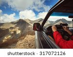 driver in car on the edge of...   Shutterstock . vector #317072126