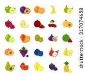 fruits and berries icons set on ...   Shutterstock .eps vector #317074658