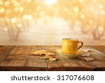 front image of coffee cup over... | Shutterstock . vector #317076608