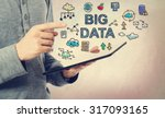 Young Man Pointing At Big Data...